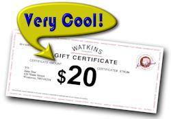 Watkins Gift Certificate $20 Cool